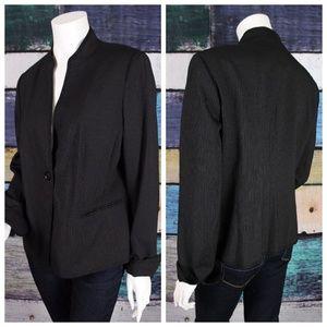 🌞 Ellen Tracy Black Striped Wool Blend Blazer